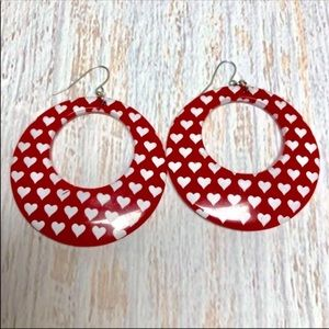 Vintage 80's Circle Valentines Heart Earrings